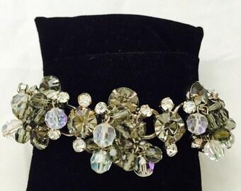 Vintage Juliana D&E Smokey Gray Clear Crystals Cha Cha Bracelet Bracelet