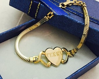 """Vintage 12K Gold Filled Forstner """"Terry"""" Heart Bracelet"""