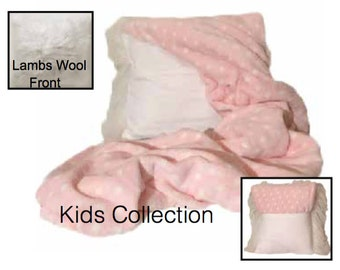 Kids Mongolian Lambs Pillow Throw & Tuck