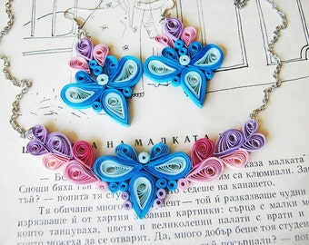 Luxury first anniversary gift for her, Paper jewelry set, Colorful jewelry set