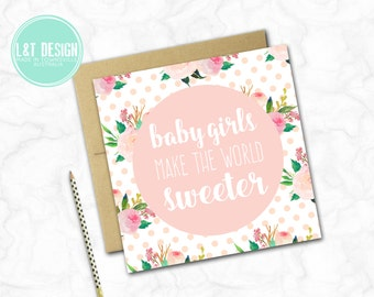 Sweet Floral New Baby Girl Card