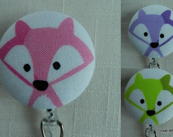 Colorful Foxes Badge reel~ Fabric~ Retractable ID Badge Holder Reel, Name Tag Holder