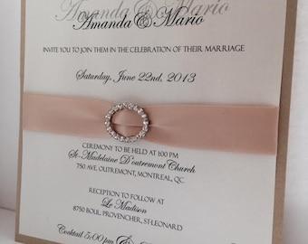 Wedding Invitations, Elegant Invitations, Gold Invitations, Crystal Invitations, Custom Invitations, Metallic Invitations,