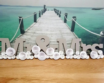 Mr and Mrs, Mr and Mrs Sign, Wedding Sign, Sign for Mr and Mrs,  Wedding Signs,  Paper Flowers, Wedding Flowers, Custom Made Wedding Sign