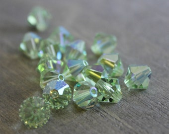 Swarovski 8mm 5301 Bicone Chrysolite AB Beads- 72 pcs - Destash - Jewelry Supplies - Swaorvski Crystal -Crystal Beads -Jewelry Making