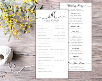 Simple Wedding Program | DIY Printable or Printed | Black and White | Calligraphy | Ceremony Program | Traditional | Elegant | Monogram
