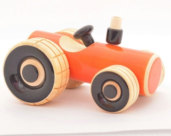 Organic Handmade Natural Dyed Wooden Push Toy Tractor