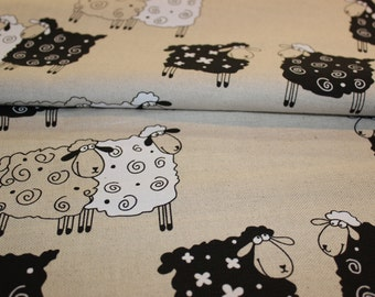 Linen - cotton fabric with sheep