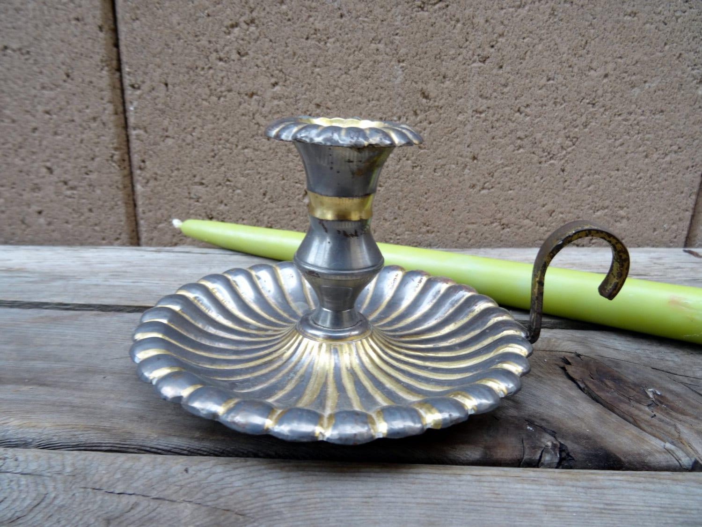 Vintage Rustic Cast Metal Candlestick Holder Brass And