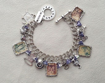 Alice in Wonderland Silver Charm Bracelet With Czech Glass Flower Beads