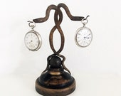 1930s French Interlaced Snake Serpent Double Pocket Watch Holder Art Deco Pocket Watch Stand