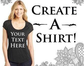 Ladies Scoop Neck Bling T-Shirt with Customizable Text Print