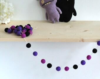 Halloween Felt Garland - Halloween Garland - Felt Ball Garland - Black - Purple - Decoration