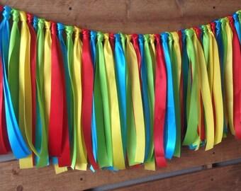 Bright Rainbow Ribbon Garland