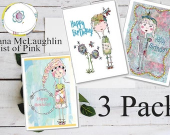 Happy Birthday card~3 pack Greeting Cards~Whimsical Card~Girls