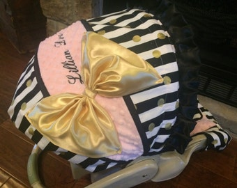 4 PC Custom Infant Car Seat Cover, Boutique Infant Car Seat Cover