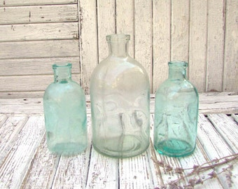 Set of 3 Clear Vintage Glass Bottles Apothecary Medicine Antique Bottles Soviet Vintage Bottles Wedding decor Flower vase Rustic bride
