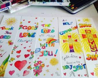 Christian Bookmarks, original watercolour, Religious, Bible sayings #christian #vibrant #colourful