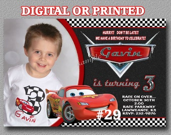 Disney Cars Invitation YOU Print Digital File or PRINTED Birthday Party Invitation