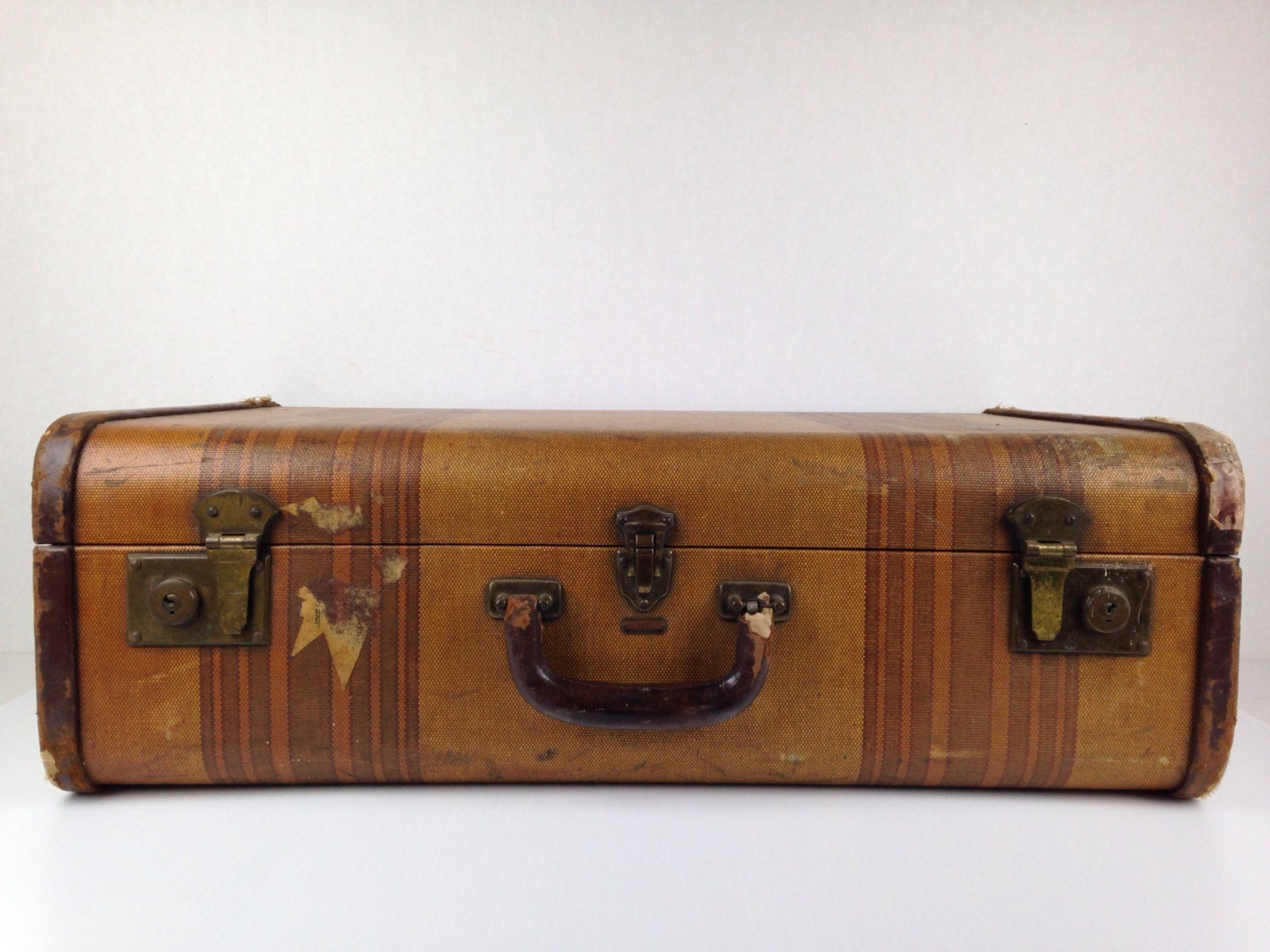 Vintage suitcase vintage 1940s luggage suitcase tweed suitcase - Vintage suitcase ...