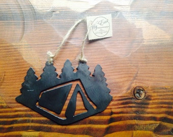Camping the Pacific Northwest Steel Ornament