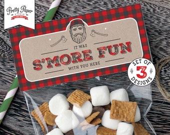 Treat Bag Toppers -Lumberjack // INSTANT DOWNLOAD // Lumberjack Birthday Party // Buffalo Plaid // Favor Bags // Black Bear / Printable BP08