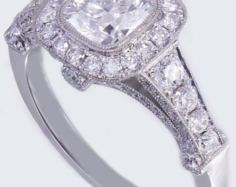 18k white gold cushion diamond engagement ring bezel set 1.80ct F-SI1 GIA
