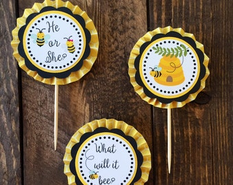 What will it Bee? Gender Reveal Cupcake Toppers (set of 12)