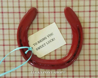 Horseshoe w gift tag,red horse shoe,equestrian decor,decorated horseshoe,horseshoe art, horseshoe gift, horse decor,Lucky Pony Shop,horse