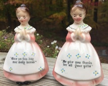 SALE Salt and Pepper Shakers Praying Grace Before Meals Young Girls in Long Pink Dresses Enesco Japan
