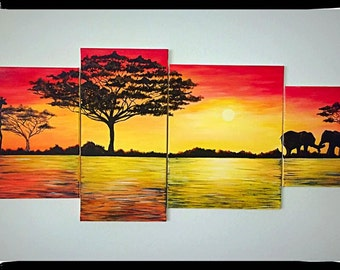 African Safari 4-piece Painting