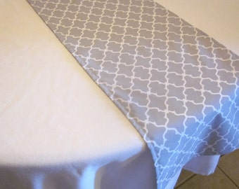 Gray and White Quatrafoil Table Runner, Wedding, Bridal Shower, Baby Shower, Graduation, Birthday