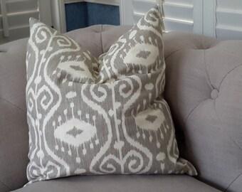 IKAT pillow/ grey pillow/ gray IKAT print pillow/ grey and white pillow