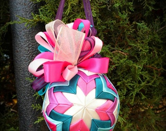 Colorful Quilted Ornament- Free Shipping