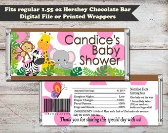 Safari Shower Candy Bar Wrappers, Safari Candy Bar Wrappers, Safari Shower Favors, Safari Birthday Favors, Digital or Printed Wrappers