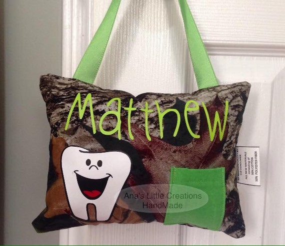Camo Tooth Fairy Pillow, Tooth Fairy Pillow with name