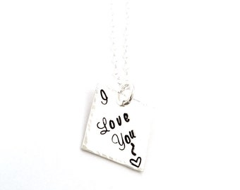 I Love You - Personalized Sterling Silver Hand Stamped Necklace - Square Hand stamped necklace -  Valentine's Day Gift