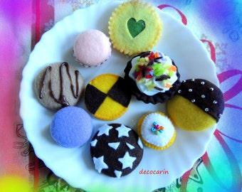 Ready Birthday Christmas Gift, Felt Cookies, Felt Food, Felt Cake, Christmas Decor Decoration Ornament, pretend play food toy, montessori