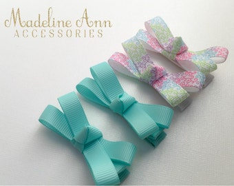 Baby Girl Mint Hair Clips, No-Slip Pastel Swirl Ribbon Clips, Wee Baby Snap Clips, Peach Fuzz Wispy Clips