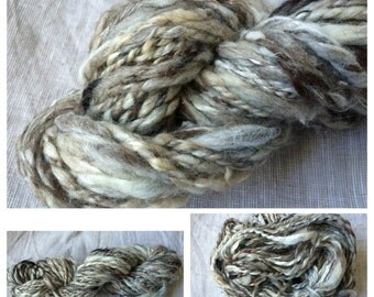 Handspun NATURAL BULKY CHUNKY yarn  Wools Camel Yak Llama Silk  > 2ply, 97g, 53 yards.