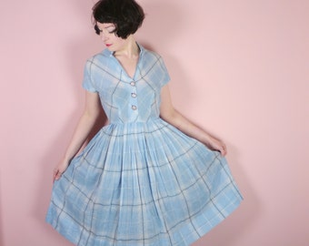 50s PASTEL blue dress in lightest cotton by BETTY HEARTFORD - checked plaid preppy cotton day dress / shirtwaister - Mid Century - uk10 / S