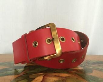 Red Leather Belt Vintage Gold Metal Buckle Grommets size Medium or Large