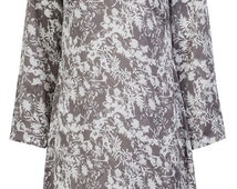 Pure silk grey floral jasmin printed dress