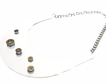 Hex nut Clear Statement - Necklace