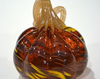 Unique Twisted Orange Blown Glass Pumpkin