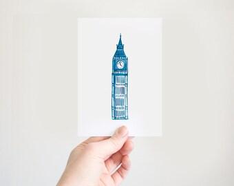 Big Ben Watercolour: Postcard