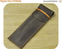 ON SALE Brown leather pouch for pen - Leather case for pen - Handmade pouch