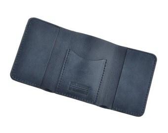 Dark blue leather wallet - Mini wallets - Small wallets - Design walletts - Handmade wallets