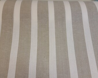 French linen look fabric in linen and white stripes 63 inches wide