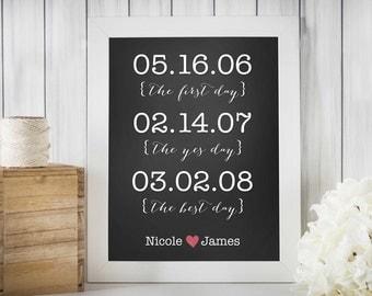 Printable Anniversary/Wedding Date 8 x 10 Print, Chalkboard or Wood